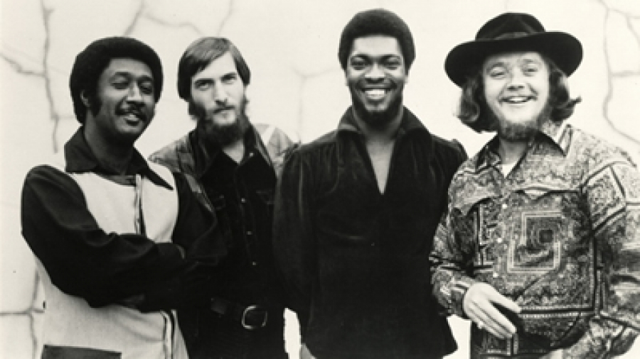 Steve Cropper (2nd from L) and Booker T. Jones (3rd from L), part of Stax Records house band.